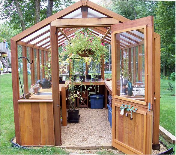 Cedar built greenhouses cedar greenhouse benches - How to build a wooden greenhouse ...