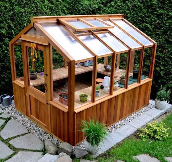shaped cedar benches in our 8' x 10' Free Standing greenhouse kit.